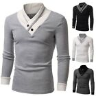 US STOCK Men's Long Sleeve Casual T-shirt Sweater High Collar Cardigan Shirts