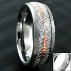 6/8mm Tungsten Meteorite & Rose Gold Arrow Band Ring-Engraving Avail. Size 5-13