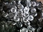 Small 15mm 24L Light Grey Pearlescent Polished 4 Hole Quality Buttons (W491)