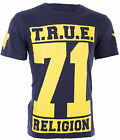 TRUE RELIGION Men T-Shirt TRUE 71 STARS Rugby Blue Yellow CRACKED Print $105 NWT