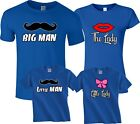 Big man mustache little lady Dad daughter Mom son matching cute funny Tshirts