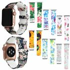 Floral Flower Silicone Strap Wrist Band 38mm 42mm For Apple Watch Series 1 2 3 image