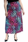 New Womens Plus Size Skirt Ladies Neon Leopard Animal Print Elastic Waist Long