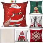 2X Christmas Pillow Case Cushion Cover Snowman, Snowflake, Reindeer, Santa Claus image