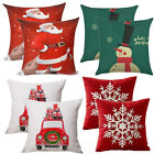 "2 Christmas Square Home Sofa Decor Pillow Cover Case Xmas Cushion Cover Size 18"" image"