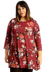 New Womens Plus Size Tunic Ladies Swing Top Floral Print Skater Dress Round Neck