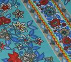 "Ah251g (**2 pieces 4"" x 18"" ) Blue with red flower Cotton Bolster Cover"