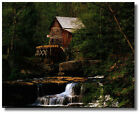 Old Mill Waterwheel, Wooded Waterfall Wall Art Print Picture