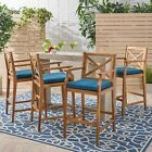 Short Outdoor Acacia Wood Barstools (Set of 4)