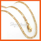 Mens Womens Kids Gold Gf Solid Figaro Curb Chain Multi Long Necklace For Pendant