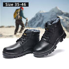Mens Outdoor Hiking Climbing Safety Warm Cotton Boots Leather Steel Toe Shoes