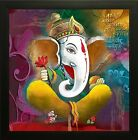 Ganesh Synthetic Painting Wood UV Textured Religious Modern Art Framed Painting