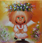 Original Oil Paitings Little Angel 12x12in On Streched Canvas