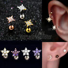 Crystal Flower Stud Thread Ring Bar Ear Earrings Cartilage Helix Tragus Piercing