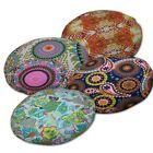 Flat Round Shape Cover*Paint Cotton Canvas Floor Seat Chair Cushion Case*AF6