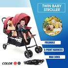 Внешний вид - Foldable Baby Twin Tandem Double Stroller Travel Infant with Second Seat Slate