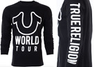 TRUE RELIGION Men LONG SLEEVE T-Shirt WORLD TOUR Black White Print $79 Jeans NWT image
