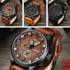 Fashion Curren Mens Date Stainless Steel Leather Analog Quartz Sport Wrist Watch image
