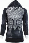 AFFLICTION Womens Hoodie Sweat Shirt ZIP UP Jacket ASCENSION Rhinestones $88