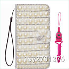 PU Leather Flip Bling Diamond Wallet Case Girls' Phone Cover bag with strap #A8