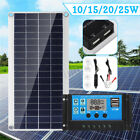 10/15/20/25W Solar Panel Dual USB+10A Solar Charger Controller Camping Hiking