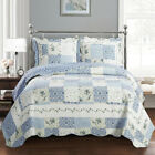 Brea Printed Quilted Wrinkle-Free Coverlet Patches of Various Floral Designs Set image