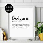 bedgasm noun definition wall Print bedroom wording Picture Quote black white