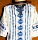Mexican Men Ivory Guayabera Casual Shirt Summer Sport Cotton Embroidered all szs