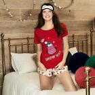 Avon Penguin 3-Piece Set PJs Pajamas Nightwear // White Red Shorts Eye Mask Gift