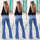 Women Bootcut Jeans Ladies Bell-Bottoms Flared High Waist Hipster Denim Pants