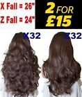MIX BROWN Long Curly Wavy Flick Half Wigs Women Fashion Hair Piece 3/4 wig fall
