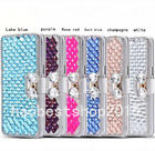 Bling Crystal Diamonds magnetic PU leather flip slots stand wallet case cover 23