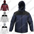 New Mens Contrast Panel Long Sleeve Hooded Zip Up Shell Jacket Casual Warm Coat