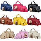 Set of 4 Women Leather Handbag Lady Shoulder Bag Tote Satchel Purse Card Holder image