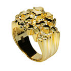 Men's 14k Gold Over REAL Solid 925 Sterling Silver Heavy Nugget Ring Size 7-13