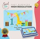 1ST BIRTHDAY GIRAFFE RECTANGLE EDIBLE CAKE TOPPER DECORATION PERSONALISED
