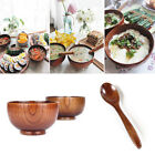 Japanese Style Wooden Rice Bowl Soup Spoon Salad Natural Wood-Tableware/