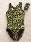 Внешний вид - NWT GK Elite Black Gold Swirl Print Gymnastics Leotard Adult X-Small AXS