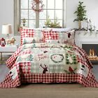 3 Piece Christmas Quilt Lodge Cabin Bedspread  Quilts Snow Man