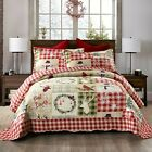 3 Piece Christmas Quilt Rustic Western Lodge Cabin Bedspread  Quilt Set Snow Man image