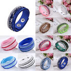 Fashion Leather Wrap Wristband Cuff Punk Crystal Rhinestone Bracelet Bangle New image