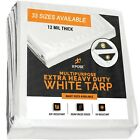 Heavy Duty 12 Mil thick White Poly Tarp Multipurpose Protective Cover