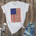 Rebel Rose Women's White Leopard American Flag S/S T-Shirt