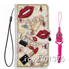 PU Leather Flip Bling Diamond Wallet Case Girls' Phone Cover bag with strap #64