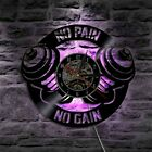 No Pain No Gain GYM Workout Dumbbell Sport Wall Clock LED Light Fitness Sign