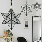 Antique Moravian Star Pendant Light Metal Glass Shade Lamp Ceiling Lights 30cm