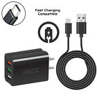 3 USB Port Home Wall Adapter Plug +6ft Type C FAST Charger Cable for Smartphones