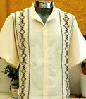 Mexican Guayabera Ivory Casual Shirt Cotton Manta Black Embroidery Buttons Down