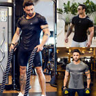 Men's Fitness Athletic Quick Drying Elastic T- shirt Gym Short Sleeve Clothing