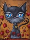 Poker Black Cat Abril Andrade Surreal Coraline Kitten Canvas Giclee Art Print